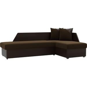 Угловой диван АртМебель Андора микровельвет коричневый+экокожа чёрный правый