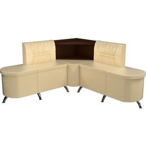 Кухонный угловой диван АртМебель Лиза эко-кожа бежевый правый