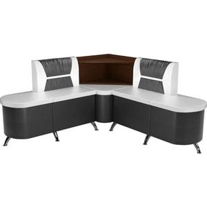 Кухонный угловой диван АртМебель Лиза эко-кожа бело/черный правый