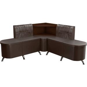 Кухонный угловой диван Мебелико Лиза эко-кожа коричневый правый