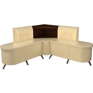 Кухонный угловой диван Мебелико Лиза эко-кожа бежевый левый