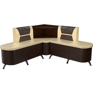 Кухонный угловой диван Мебелико Лиза эко-кожа бежево/коричневый левый кухонный уголок мебелико уют эко кожа бежево коричневый левый