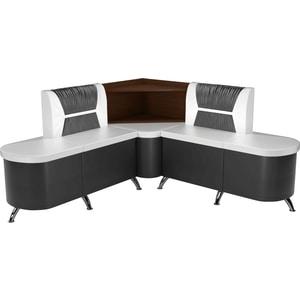 Кухонный угловой диван АртМебель Лиза эко-кожа бело/черный левый