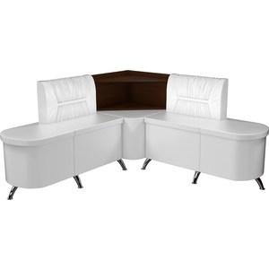 Кухонный угловой диван Мебелико Лиза эко-кожа белый левый