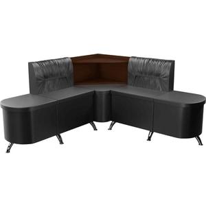 Кухонный угловой диван Мебелико Лиза эко-кожа черный левый