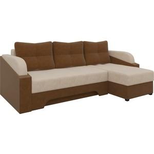Угловой диван Мебелико Панда микровельет бежево/коричневый правый