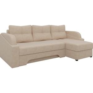 Угловой диван Мебелико Панда микровельет бежевый правый