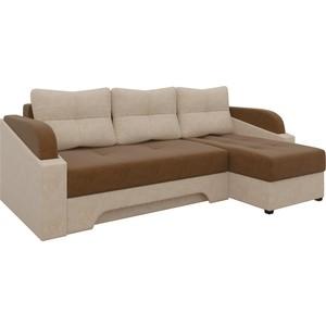 Угловой диван Мебелико Панда микровельет коричнево/бежевый правый