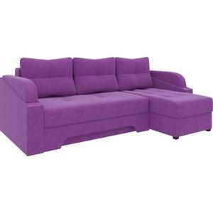 Угловой диван Мебелико Панда микровельет фиолетовый правый