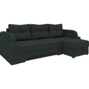 Угловой диван Мебелико Панда микровельет черный правый