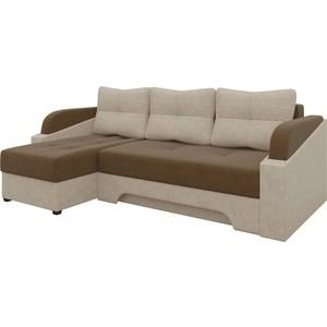 Угловой диван Мебелико Панда микровельет коричнево/бежевый левый