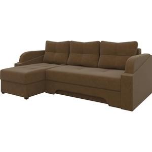 Угловой диван Мебелико Панда микровельет коричневый левый