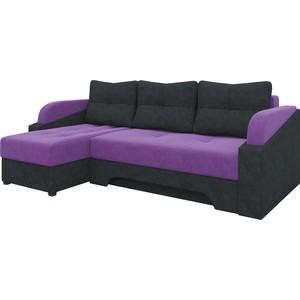 Угловой диван Мебелико Панда микровельет фиолетово/черный левый