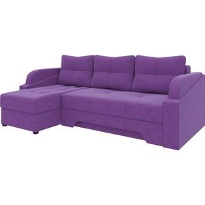 Угловой диван Мебелико Панда микровельет фиолетовый левый