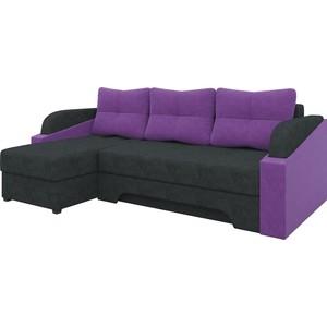 Угловой диван Мебелико Панда микровельет черно/фиолетовый левый