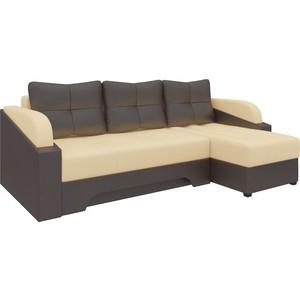 Угловой диван Мебелико Панда эко-кожа бежево/коричневый правый