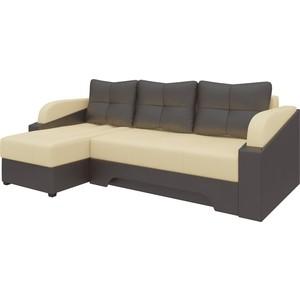 Угловой диван АртМебель Панда эко-кожа бежево/коричневый левый цена