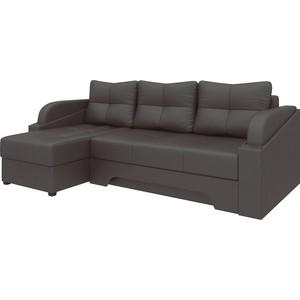 Угловой диван АртМебель Панда эко-кожа коричневый левый цена