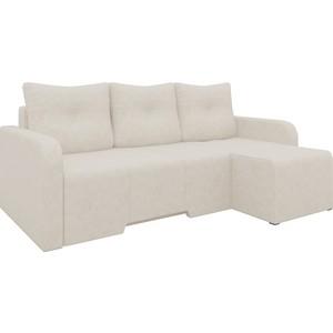 Угловой диван Мебелико Манхеттен микровельвет бежевый правый