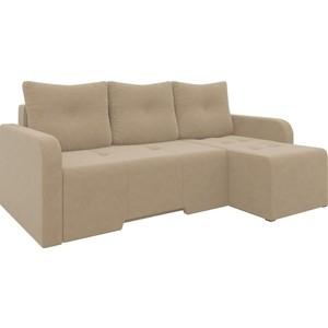Угловой диван Мебелико Манхеттен микровельвет коричневый правый