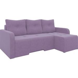 Угловой диван Мебелико Манхеттен микровельвет фиолетовый правый