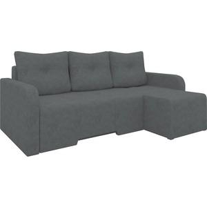Угловой диван Мебелико Манхеттен микровельвет черный правый