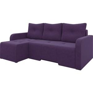 Угловой диван Мебелико Манхеттен микровельвет фиолетовый левый