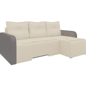 Угловой диван Мебелико Манхеттен эко-кожа бежево/коричневый правый диван мебелико малютка эко кожа бежево коричневый