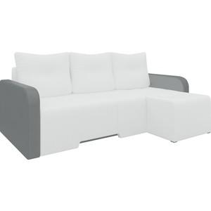 Угловой диван Мебелико Манхеттен эко-кожа бело/черный правый