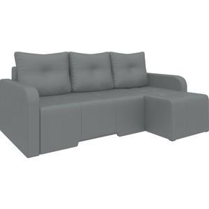 Угловой диван Мебелико Манхеттен эко-кожа черный правый