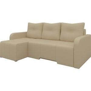 Угловой диван Мебелико Манхеттен эко-кожа бежевый левый угловой диван мебелико манхеттен эко кожа бело черный левый