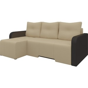 Угловой диван Мебелико Манхеттен эко-кожа бежево/коричневый левый кушетка мебелико принц эко кожа бежево коричневый левый