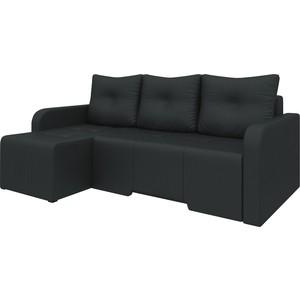 Угловой диван Мебелико Манхеттен эко-кожа черный левый угловой диван мебелико манхеттен эко кожа бело черный левый