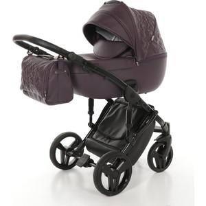 Коляска 2 в 1 Junama Enzo JME-03 фиолет.кожа/чёрая рама детская коляска 2 в 1 junama diamond jd 01 темно синий белый короб