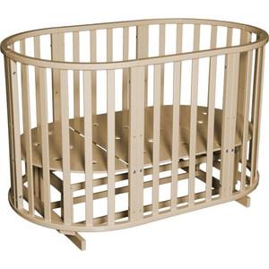 Кроватка Антел Северянка 3 6 в 1 маятник поперечный, колесо, круглая 75*75, овал 125*75 сл.кость