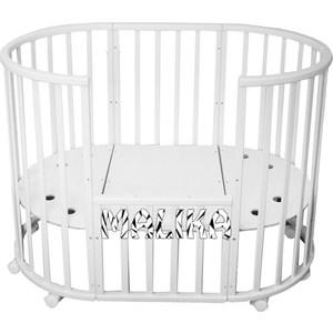 Кроватка круглая-овальная Malika MILONY 7 в 1 БУК белый