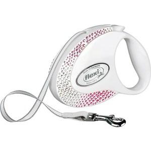 Рулетка Flexi Glam Composition S лента 3м белая с белыми и розовыми кристаллами для собак до 12кг