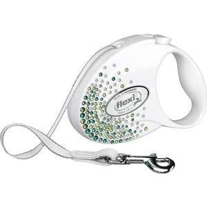 Купить Рулетка Flexi Glam Splash Leaf М лента 5м белая с зелеными кристаллами для собак до 25кг