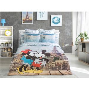 Комплект постельного белья Love me 2-х сп, перкаль, Mickey in Paris в прозрачной сумке (711070)