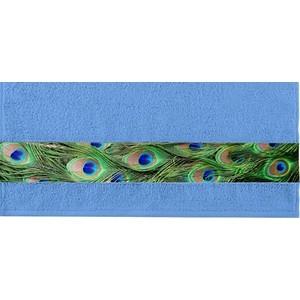 Полотенце Aquarelle Фотобордюр павлин, спокойный синий 70х140 (709822)