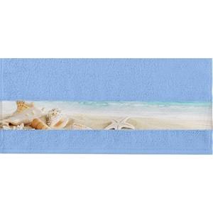 Полотенце Aquarelle Фотобордюр ракушки, светло-васильковый 70х140 (712580)