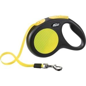 Рулетка Flexi New Neon M лента 5м черная/желтая для собак до 25кг