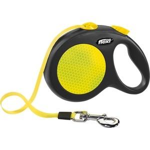 Рулетка Flexi New Neon L лента 5м черная/желтая для собак до 50кг фото