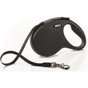 Рулетка Flexi New Classic M лента 5м черная для собак до 25кг рулетка flexi classic new m ремень 5м до 25кг черный
