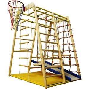 Детский спортивный комплекс Вертикаль Весёлый Малыш Wood горка мягкий бортик