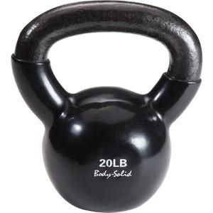 Гиря Body Solid 9,1 кг (20lb) обрезиненная черная KBV(KVC)20