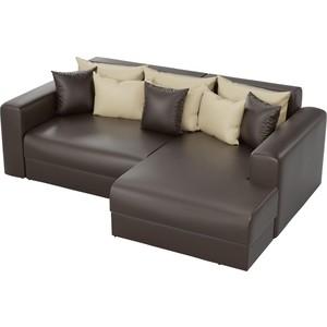 Угловой диван АртМебель Мэдисон эко-кожа коричневый правый угол цена