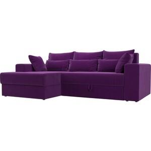 Угловой диван АртМебель Мэдисон микровельвет фиолетовый левый угол угловой диван артмебель мэдисон микровельвет черный левый угол