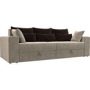 Диван-еврокнижка АртМебель Мэдисон микровельвет бежевый подушки коричневые подушки