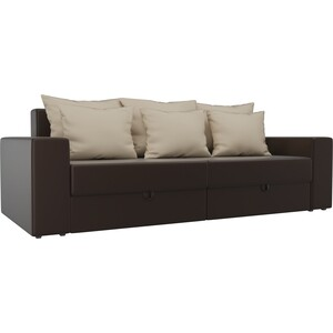 Диван-еврокнижка АртМебель Мэдисон эко-кожа коричневый подушки бежевые